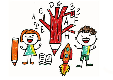 Kids drawing style. School children. Play and learn. Education. Small boy and girl with book, tree, pencil, alphabet and rocket