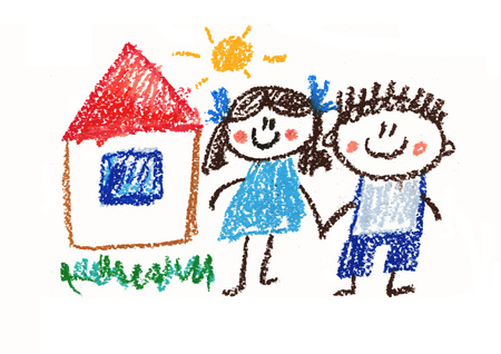 Happy boy and girl. Man and woman. Kids drawing style illustration. Crayon art. House, summer, sun Reklamní fotografie