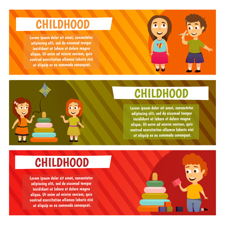 Children kindergarten education lesson. Boys and girls Banners for advertising Play and grow Illustration