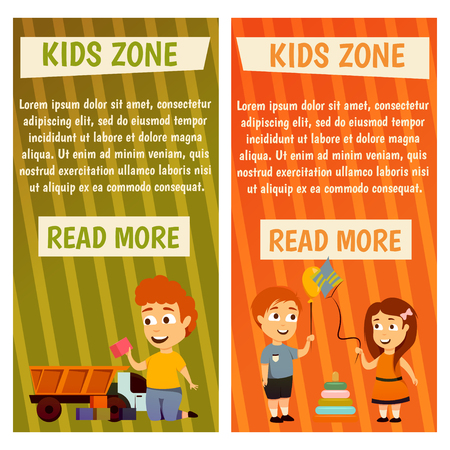 Boys and girls, kids zone Banners for advertising. Play and grow. Illustration