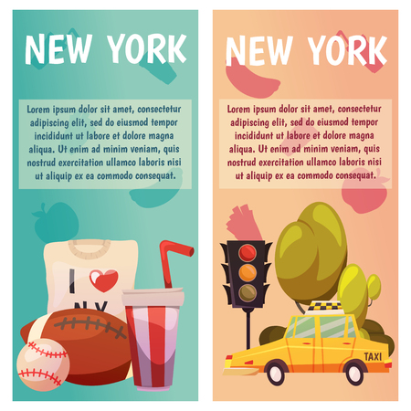 New York city Vector banners with flat icons. Yellow taxi, sport, baseball, rugby. City line