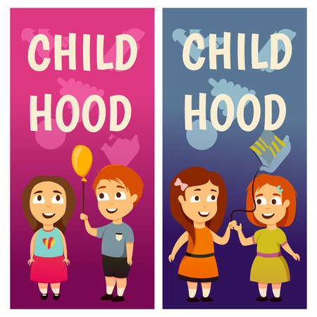 Children. Kindergarten. Education. Lesson. Boys and girls. Banners for advertising Play and grow