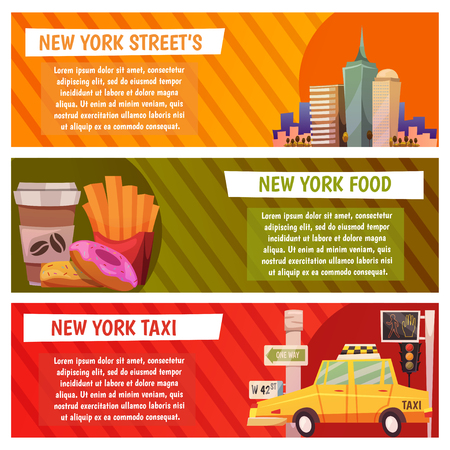 New York city Vector banners with flat icons illustration. Çizim