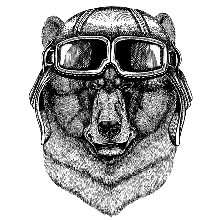 Animal wearing aviator helmet with glasses. Vector picture. Black bear Hand drawn illustration for tattoo, t-shirt, emblem, badge, logo, patch Illustration