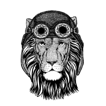 Cute animal wearing motorcycle, aviator helmet Lion Hand drawn picture for tattoo, emblem, badge, logo, patch, t-shirt