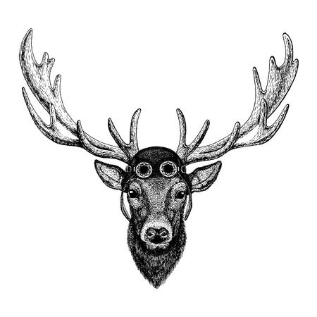 Cute animal wearing motorcycle, aviator helmet Deer Hand drawn illustration for tattoo, emblem, badge, logo, patch t-shirt