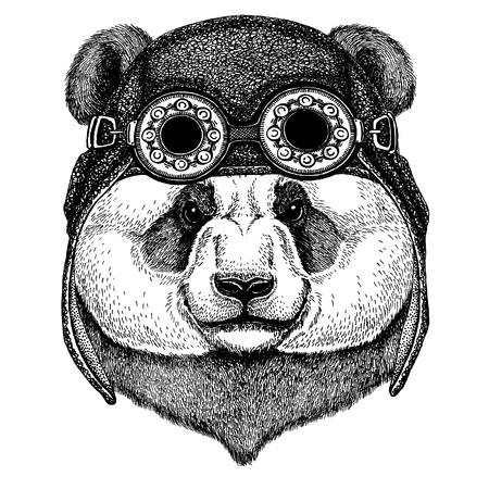 Panda bear. Bamboo bear. Cute animal wearing motorcycle, aviator helmet Hand drawn image for tattoo, emblem, badge, logo, patch, t-shirt