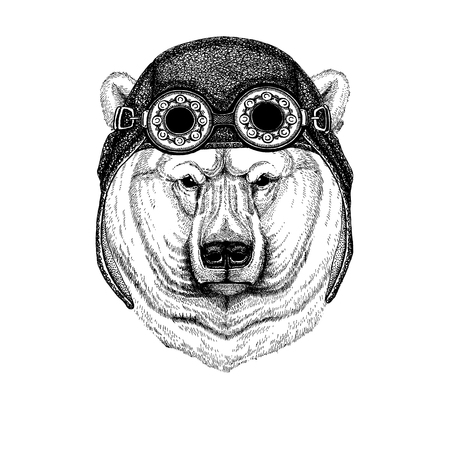 Big polar bear, White bear Hand drawn illustration for tattoo, t-shirt, emblem, badge, logo, patch