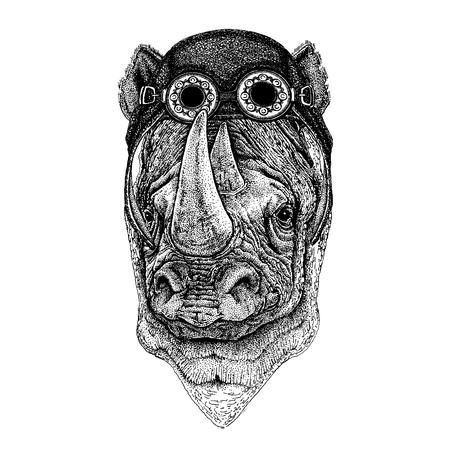 Rhinoceros, rhino Hand drawn illustration for tattoo, emblem, badge, logo, patch t-shirt