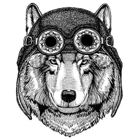 Cute animal wearing motorcycle, aviator helmet Camelopard, giraffe Hand drawn image for tattoo, emblem, badge, logo patch