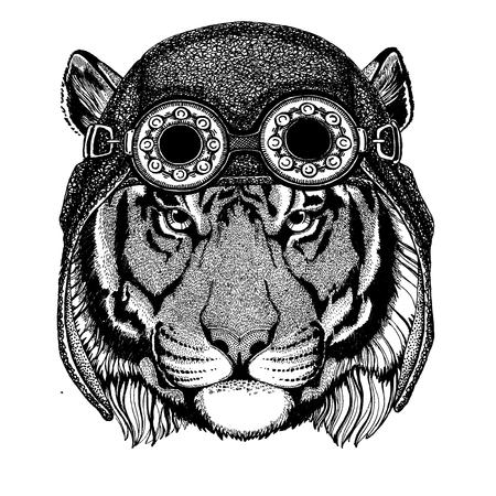 Cute animal wearing motorcycle, aviator helmet Wild tiger Hand drawn image for tattoo, emblem, badge, logo, patch, t-shirt