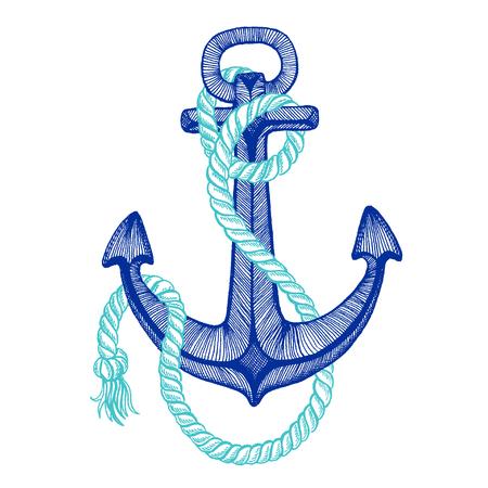 Vector anchor. Sea, ocean, sailor sign. Hand drawn vintage illustration for t-shirt, logo, badge emblems Illustration