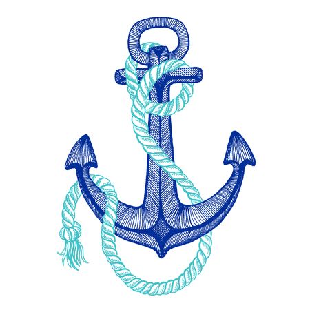 Vector anchor. Sea, ocean, sailor sign. Hand drawn vintage illustration for t-shirt, logo, badge emblems Ilustração