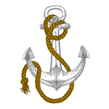 Vector anchor. Sea, ocean, sailor sign. Hand drawn vintage illustration for t-shirt, logo, badge emblems Illustration