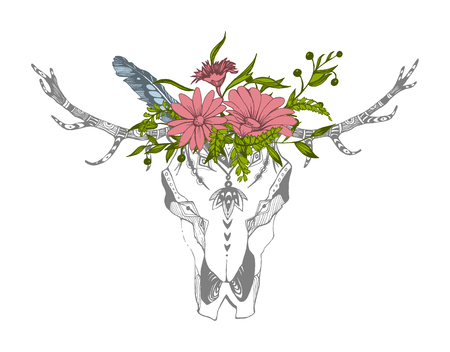 Tribal boho skull with flowers. Traditional ornament, be wild and free. Illustration