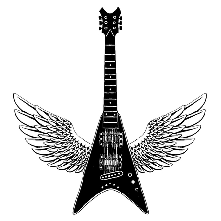 Cool guitar. Rock emblem for music festival. Heavy metall concert. T-shirt print, poster. Musical instrument. Badge, logo art
