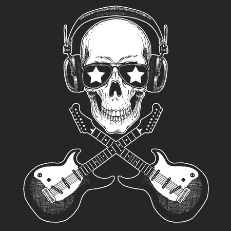 Cool rock star skull wearing disco glasses and headphones Retro music festival. Wings. Heavy metall emblem for concert, poster, t-shirt Illustration