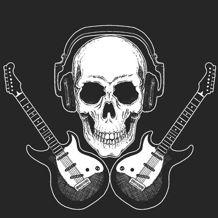 Rock music festival. Cool print with skull and headphones for poster, banner, t-shirt. Guitars Standard-Bild - 103666984
