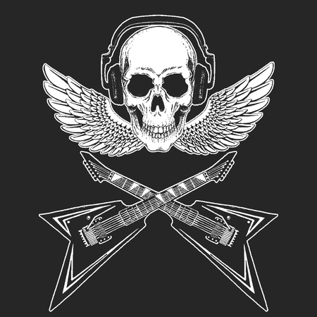 Rock music festival. Cool print with skull and headphones for poster, banner, t-shirt. Guitars, wings Illustration