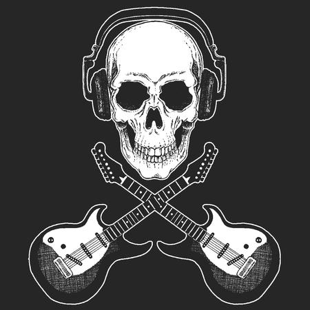 Rock music festival. Cool print with skull and headphones for poster, banner, t-shirt. Guitars Illustration