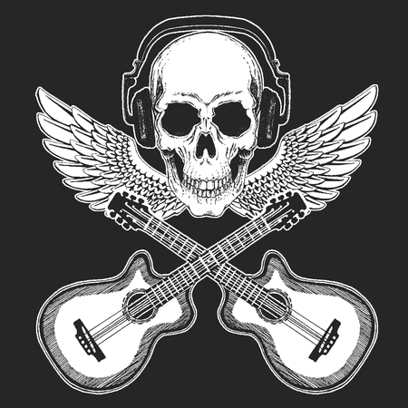 Rock music festival. Cool print with skull and headphones for poster, banner, t-shirt. Guitars, wings Zdjęcie Seryjne