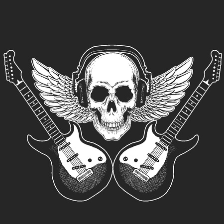 Rock music festival. Cool print with skull and headphones for poster, banner, t-shirt. Guitars, wings Stock Photo