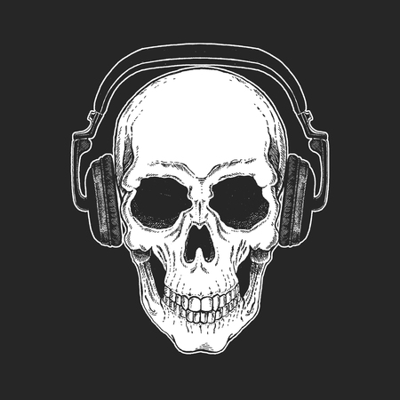 Rock music festival. Cool print with skull and headphones for poster, banner, t-shirt. Banco de Imagens