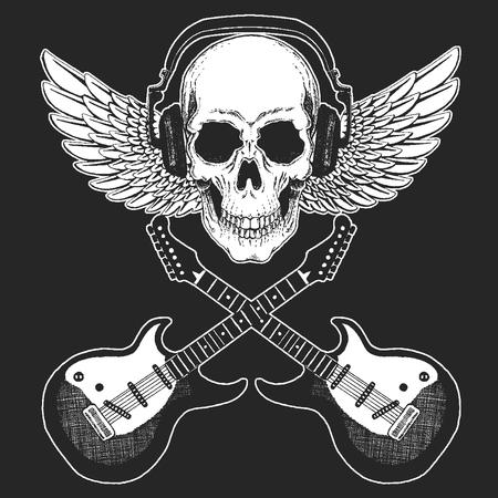 Rock music festival. Cool print with skull, guitars, wings, headphones for poster, banner, t-shirt.