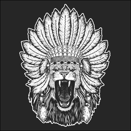 Wild lion Traditional ethnic indian boho headdress Tribal shaman hat Ceremonial element