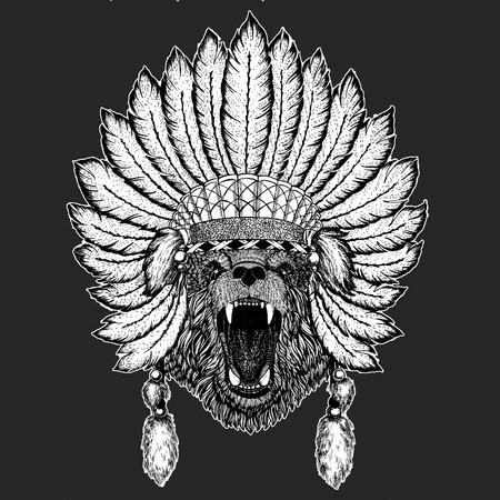 Bear Traditional ethnic indian boho headdress Tribal shaman hat Ceremonial element Illustration