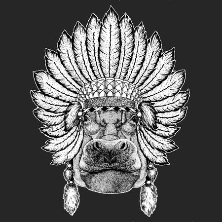 Hippo, Hippopotamus, behemoth, river-horse Traditional ethnic indian boho headdress Tribal shaman hat Ceremonial element Illustration