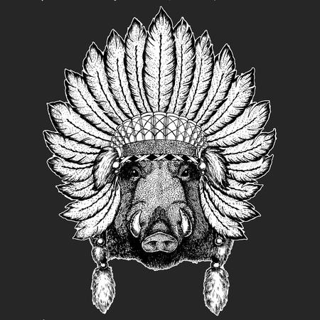 Aper, boar, hog, wild boar Traditional ethnic indian boho headdress Tribal shaman hat Ceremonial element Stock Vector - 103666998