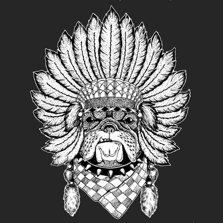 Bulldog, dog. Traditional ethnic indian boho headdress Tribal shaman hat Ceremonial element Illustration