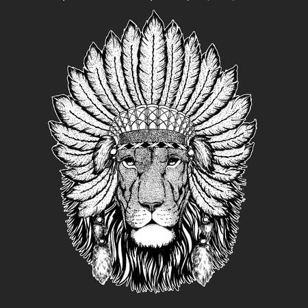 Lion Traditional ethnic indian boho headdress Tribal shaman hat Ceremonial element Banco de Imagens - 103667967
