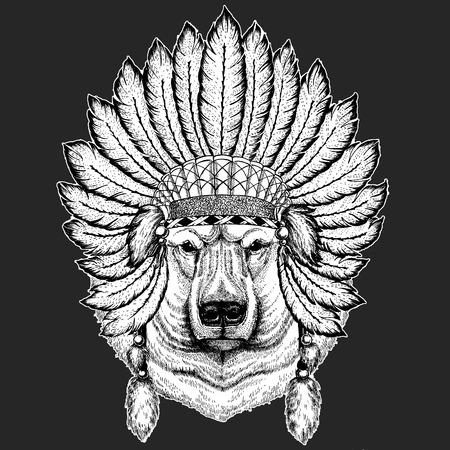 Gros ours polaire, ours blanc Illustration dessinée à la main pour tatouage, t-shirt, emblème, insigne, logo, patch Logo