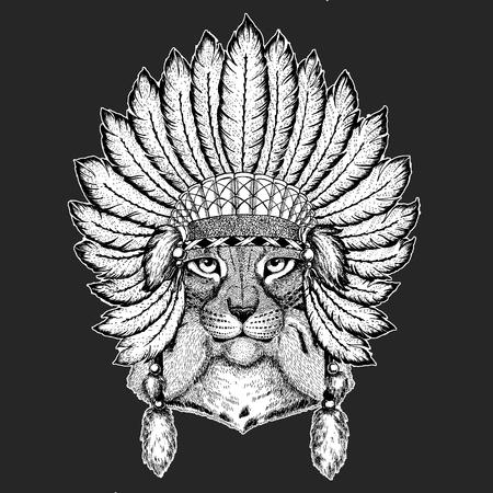 Wild cat Lynx Bobcat Trot Traditional ethnic indian boho headdress Tribal shaman hat Ceremonial element Reklamní fotografie - 103667207