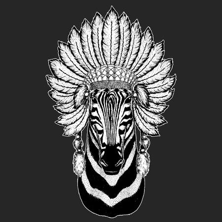 Zebra Horse Traditional ethnic indian boho headdress Tribal shaman hat Ceremonial element
