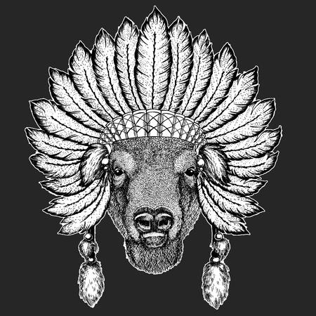 Wild bull Traditional ethnic indian boho headdress Tribal shaman hat Ceremonial element Ilustrace