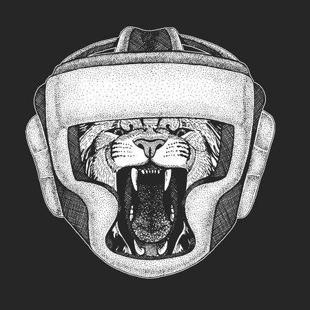 Lion Wild cat Athletic animal Boxing champion. Print for t-shirt, emblem Martial arts. Vector illustration with fighter. Sport competition. Illustration