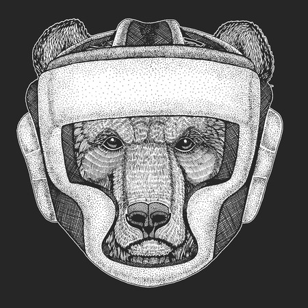 Athletic animal Boxing champion. Print for t-shirt, emblem Martial arts. Vector illustration with fighter. Sport competition. Brown bear
