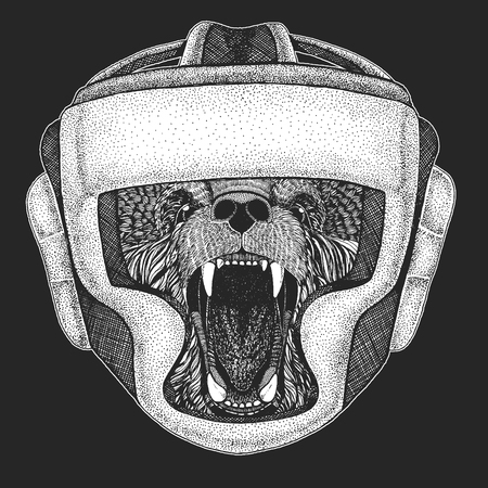 Athletic bear Boxing champion. Print for t-shirt, emblem Martial arts. Vector illustration with fighter. Sport competition. Vettoriali