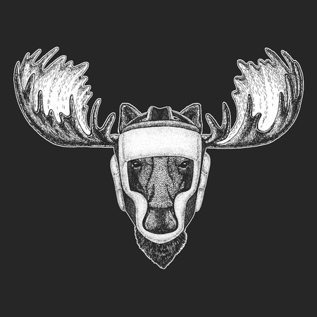 Athletic animal Moose, elk Boxing champion.Athletic animal Boxing champion.  Martial arts. Vector illustration with fighter. Sport competition.  イラスト・ベクター素材