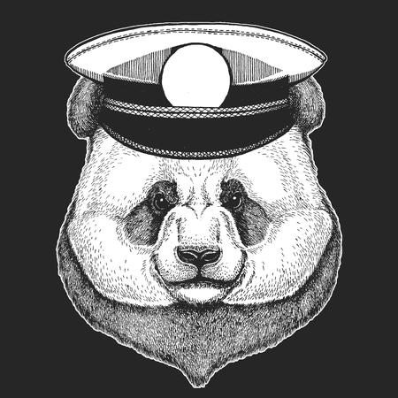 Vector print for children. Capitan, pirate animal. Brave sailor. Design for kindergarten, school kids clothing, t-shirts. Panda bear. Bamboo bear.