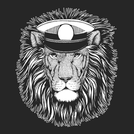 Wild lion. Vector print for children. Capitan, pirate animal. Brave sailor. Design for kindergarten, school kids clothing, t-shirts.
