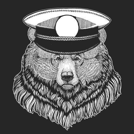Grizzly bear Big wild bear Hand drawn image for tattoo, t-shirt, emblem, badge, logo, patch Иллюстрация