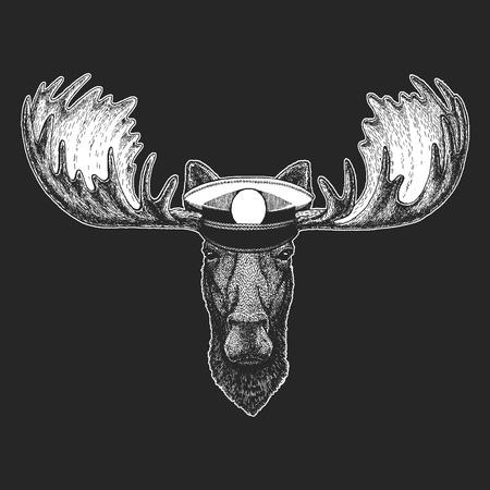 Moose, elk Hand drawn illustration for tattoo, emblem, badge, logo, patch t-shirt