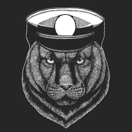 Panther, Puma, Cougar, Wild cat Vector print for children. Capitan, pirate animal. Brave sailor. Design for kindergarten, school kids clothing, t-shirts.