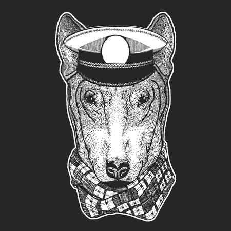 DOG for t-shirt design Hand drawn illustration for tattoo, emblem, badge, logo, patch Standard-Bild - 115201850