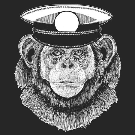 Chimpanzee, Monkey Hand drawn illustration for tattoo, emblem, badge, logo, patch t-shirt