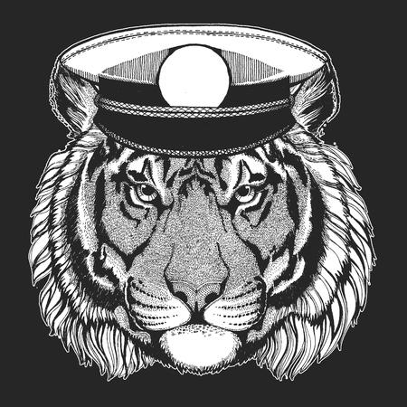 Tigre sauvage Image dessinée à la main pour tatouage, emblème, insigne, logo, patch, t-shirt Logo